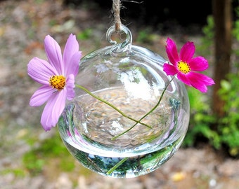 Round Glass Hanging Vase