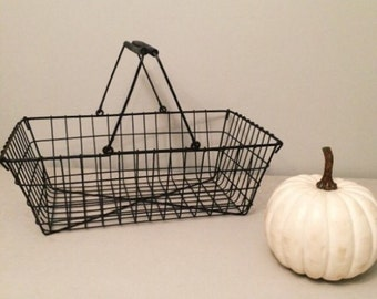 Antique Black Wire Basket With Handles