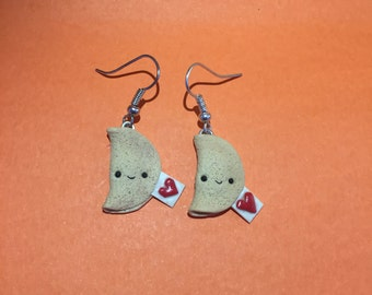 Earrings fortune cookie polymer clay