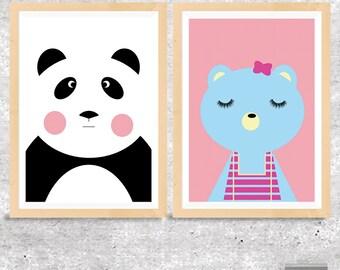 Panda Nursery Art Print, Bear Nursery Print, Download Printable Nursery Wall Art, Printable Kids Art, Pink Nursery Decor, Baby Wall Art