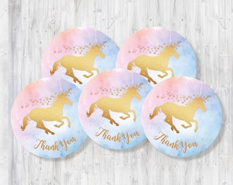 Unicorn Party Thank You Circles, Gold Sparkle Unicorn, Magical Unicorn Party Favour Toppers
