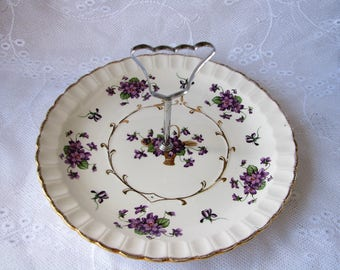 Wood & Sons cake plate Purple flower serving dish Handled Cake Plate Cupcake plate Cake display stand Table centerpiece Afternoon Tea party