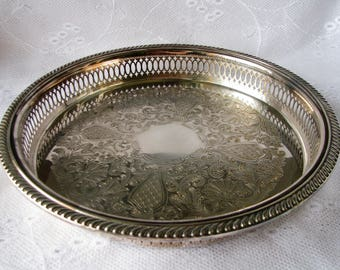 Silver tray Rogers tray Silver Plated tray Reticulated tray Serving tray Round tray Gallery Tray Table decor Fruit tray Wedding table decor