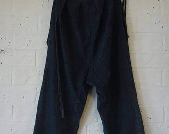 Indigo sashiko repair monpe trousers