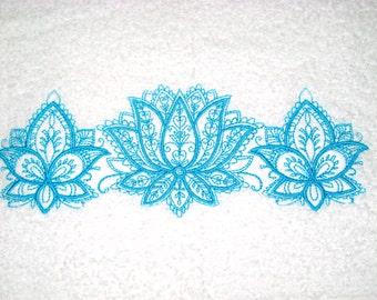 Mehndi Lotus Embroidered Hand Towel