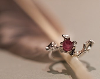Ring silver with tourmaline gem