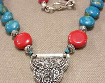 coral,coral necklace,korallenkette, turquoise, coral and turquoise necklace,  stylish necklace,bohomian