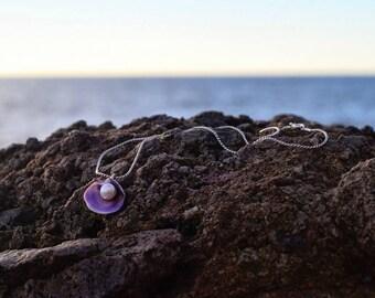 Pearl - seashell - pearl - natural sea shell necklace