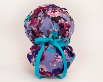 Spring Pansies in Purple Bouffant/Ponytail Hybrid Scrub Hat