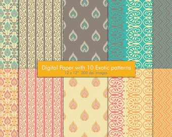 gift wrapping digital paper pack, ecotic pattern scrapbook paper instant download, exotic indian pattern paper, DIY hobby  craft card making