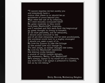 Wuthering Heights Print, Emily Bronte Art, Romantic Book Quote Typography Wall Art Decor, My Love for Heathcliff