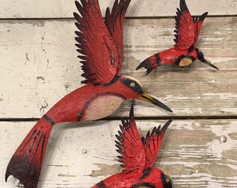 Wall Hanging Hummingbirds / Hummingbird Metal Sculpture/ Humminbird Wall Art  / Garden Hummingbird / Hummingbird