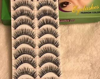 MODEL 21 False Eyelashes 10 Pairs, High Quality, Medium Fake Eyelashes, Makeup
