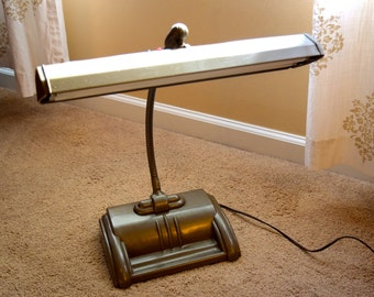 Vintage Industrial Gooseneck Fluorescent Desk Lamp - Works Great! With Bulbs! Art Deco