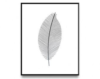 Minimalistic leaf, leaf art print, botanical leaf art, printable leaf, printable art, art print, minimalist print, nordic wall print