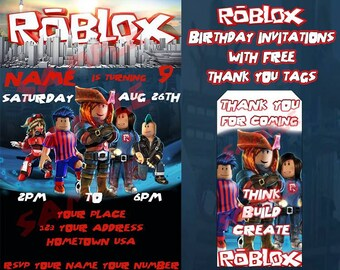 Roblox Birthday Invitation with FREE Thank You Tags