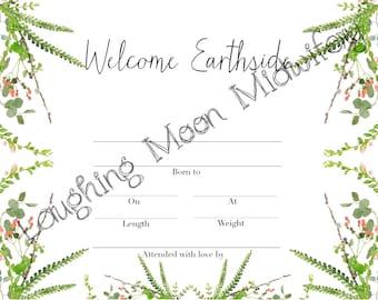 Birth certificate etsy commemorative birth certificate welcome earthside born at home newborn footprint keepsake nursery yadclub Gallery