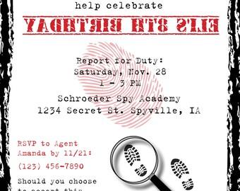 Spy Secret Agent Birthday Party Invite - DIGITAL FILE ONLY