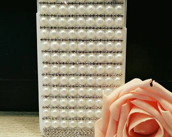 my handmade pearl & rhinestone iPhone 6 plus case