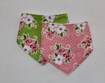 Set of Two Baby Bandana Drool Bib: Floral