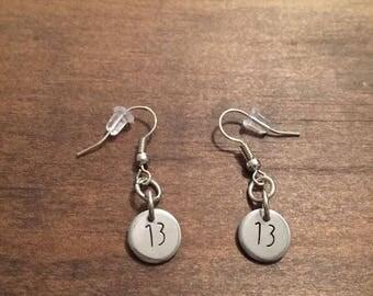 Personalized Number Earrings- Custom Number Earrings- Lucky Number Earrings- Stainless Steel Dangle Earrings- Hand Stamped Digit Earrings