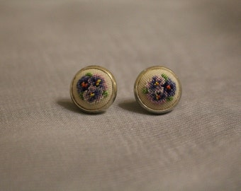 "Stud earrings ""Violets"" 12 mm"