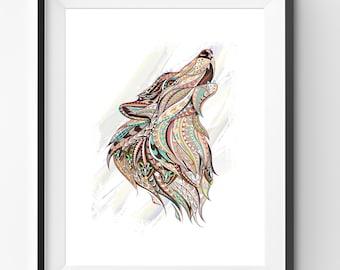 Colorful Wolf Art, Wolf Wall Art, Mosaic Wolf Print, Animal Print, Ethnic Wolf, Wolf Digital Print, Digital Download
