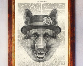German Shepherd with Hat Art Print, Dog Print, German Shepherd Wall Art, Book Page Dog Print, Dictionary Page Art, Dog Illustration Print