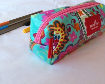 Pretty Paisley Print Pencil Bag for Girl, Box Shape Pencil Pouch for School, Back to School, Girly Accessories, Gift for Girl, Bright Colors