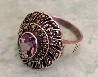 Beautiful Sterling Silver Ring with Amethyst and Marcasites Size 5.5