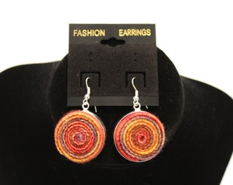 hand made silverplated and handdyed wool earrings