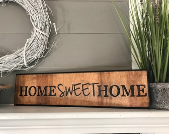 Home Sweet Home Carved Rustic Wood Sign Housewarming Gift New Home First Home Wall Decor Country home decor rustic decor wooden letters
