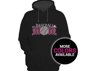 Baseball Mom Rhinestones Sports Sweatshirt Hoodie Women White Black Soft Cotton/Polyester Hoodie Sweatshirt