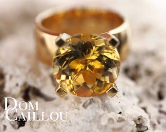 Golden Beryl ring 8.46 ct 750 (18 ct) Gold communications