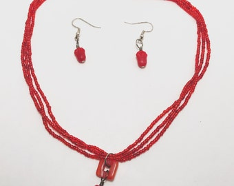 Red Flower Pendant Necklace Set