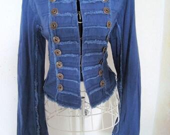 Vintage Military goth pilot Drummer boy steampunk jacket blazer in Blue Size M