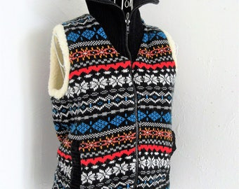 Vintage 70s style knitted tank top coat jacket reversable fleece Size S