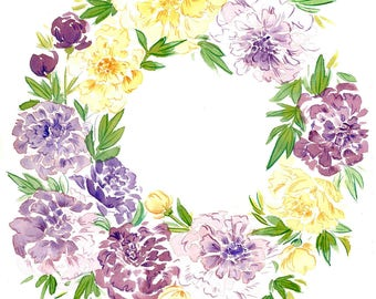 Peony Flower Wreath - Watercolor Art Print