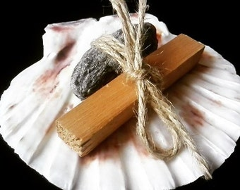 Smudge bundle - Cedar stick mica gemstone shell shaman witch yoga pagan healing incense