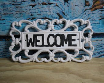 White Cast Iron Welcome Sign