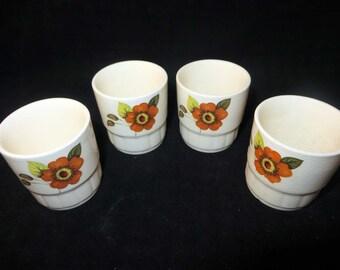 Vintage Royal Worcester Egg Cups Palissy  Clovelly' Design  in Original  Box 1970's 1970's
