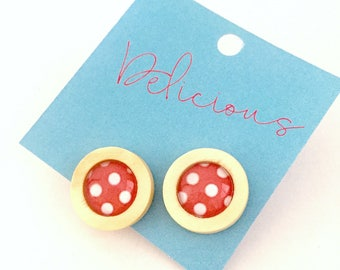 Red and White Polka Dot Glass and Wood Stud Earrings