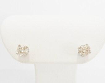 14k White Gold .75 Carat Round Diamond Stud Earrings #624