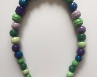 """Green&Purple beaded Necklace - 18"""""""