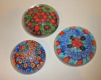 Vintage Huge Murano millefiori art glass paperweight lot of 3 made by Fratelli Toso