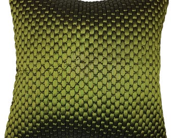 One Of A Kind Green Textured Satin 43x43cm Cushion
