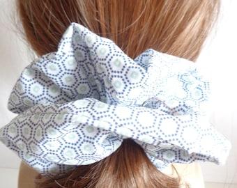 scrunchies scrunchie scruncy White and blue cotton   Scrunchies   chouchou ,  Hair Accessories  , Handmade by  ScrunchiesCo .