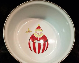 Small enamel bowl holly clown design with red ring