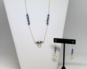 Blue and Gold Beaded 3 Piece Jewelry Set - Silver Plated Chain Necklace, Beaded Bracelet and Dangle Earrings with Silver Heart Charms