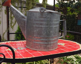 Vintage Galvanized Metal Watering Can with Red sprinkler Spout